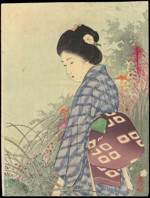 Takeuchi Keishu: Bijin In Flower Garden (1) - Ohmi Gallery