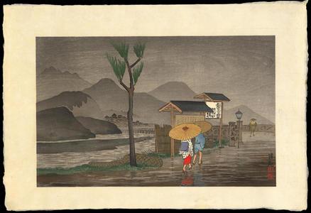 Kobayashi Kiyochika: Rain on the outskirts of a town - Ohmi Gallery