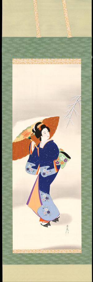 Ishikawa Kiyohiko 石川清彦: Bijin in Snow - 雪中美人 - Ohmi Gallery