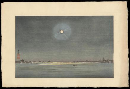 小林清親: The Winter Moon - Kinryuzan Viewed from the Banks of the Sumida River - 墨堤より望む金龍山 冬の月 - Ohmi Gallery