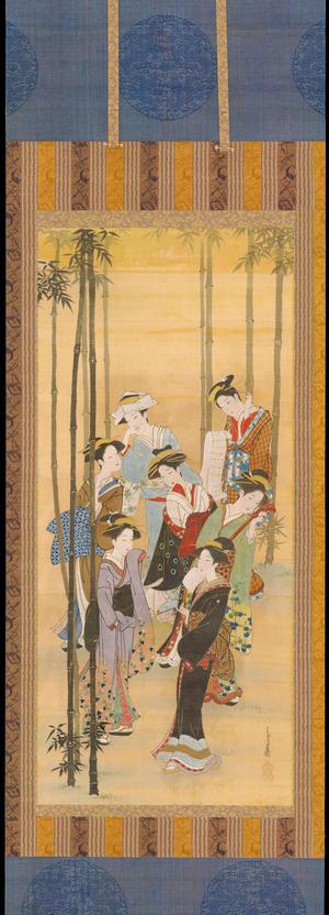 Miyagawa Choshun: Seven Bijin in a Bamboo Forest - 竹林七美人図 - Ohmi Gallery