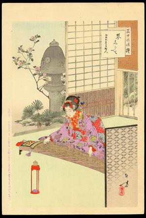 Mizuno Toshikata: Playing the Koto - 琴誌らべ - Ohmi Gallery