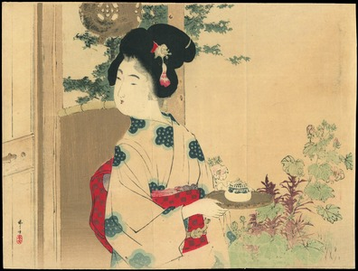 Mizuno Toshikata: Bijin Carrying Tea (1) - Ohmi Gallery