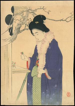 水野年方: Bijin Visiting a Temple in the New Year (1) - Ohmi Gallery