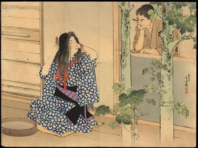 Mizuno Toshikata: Bijin combing hair (1) - Ohmi Gallery