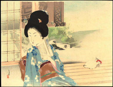 水野年方: Bijin By Bamboo Screen - 簾影美人 - Ohmi Gallery