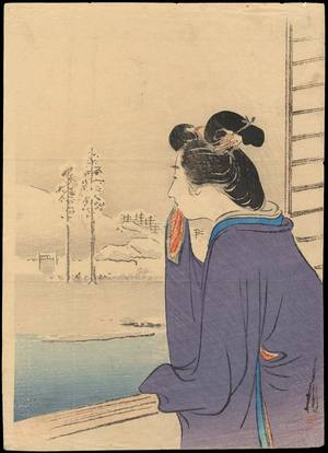 尾形月耕: Bijin and Winter Landscape (1) - Ohmi Gallery