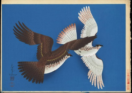 Bakufu Ohno: Two Falcons (blue version) - Ohmi Gallery