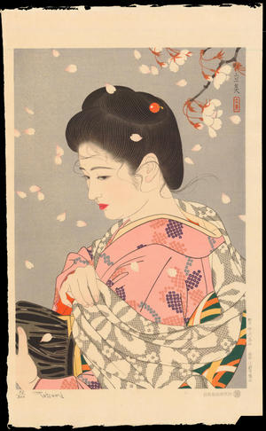 Tatsumi, Shimura: Hanafubuki (Falling Cherry Blossoms) - 花吹雪 - Ohmi Gallery