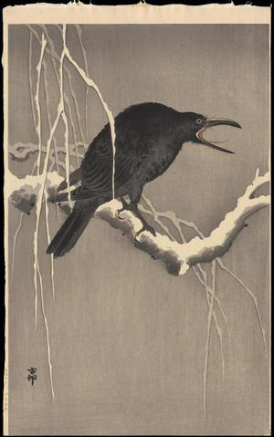 Shoson Ohara: Cawing Crow - Ohmi Gallery