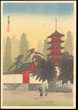 渡辺省亭: Temple of Kinugasa - Ohmi Gallery