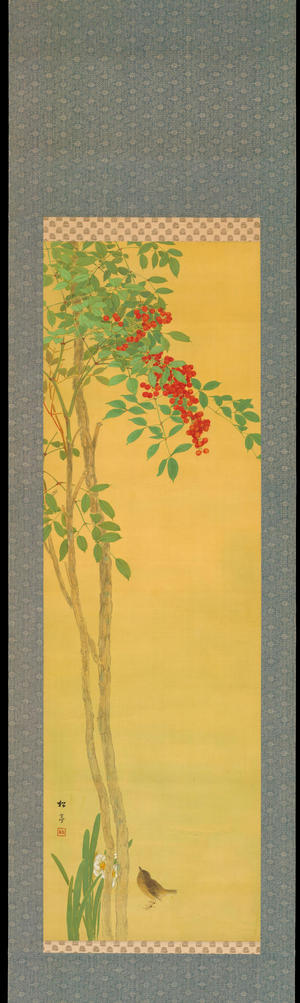 Watanabe Shotei: Nandina and Sparrows - 南天 - Ohmi Gallery