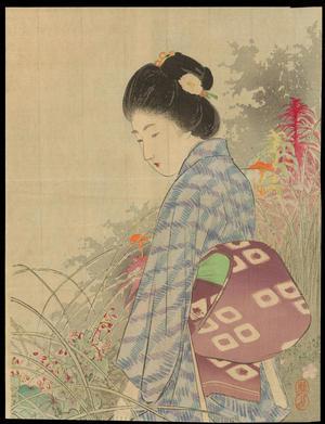 武内桂舟: Bijin In Flower Garden (1) - Ohmi Gallery