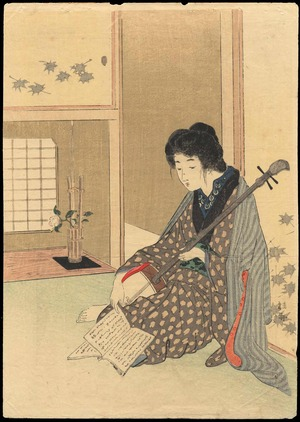 Takeuchi Keishu: Bijin Playing a Shamisen (1) - Ohmi Gallery
