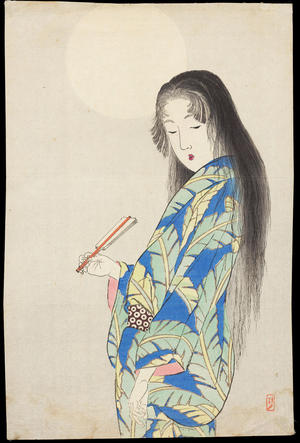 武内桂舟: Bijin Under the Moon - 月下美人 - Ohmi Gallery