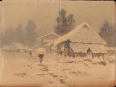 武内桂舟: Village Street in Snow (1) - Ohmi Gallery
