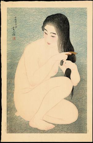 Torii Kotondo: Combing Hair - Ohmi Gallery