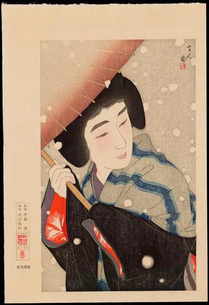 鳥居言人: No. 9 - Peony Snowflakes - 牡丹雪 - Ohmi Gallery