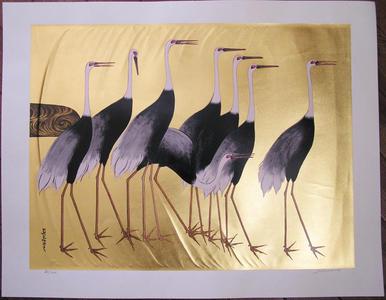 Uno Joji: A Group of Cranes - 群鶴 - Ohmi Gallery