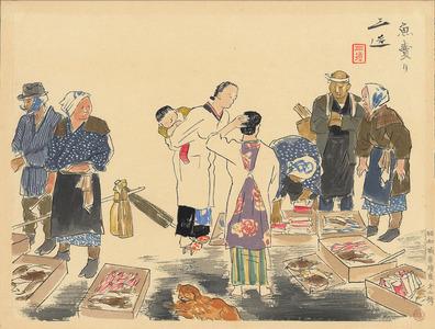 Wada Sanzo: Fish market - Ohmi Gallery