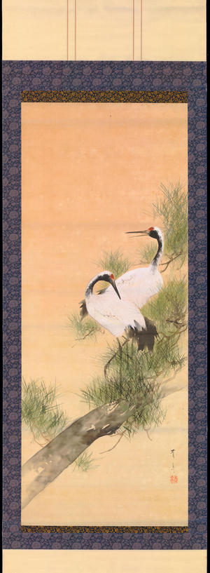 Watanabe Seitei: Two cranes in pine tree (1) - Ohmi Gallery