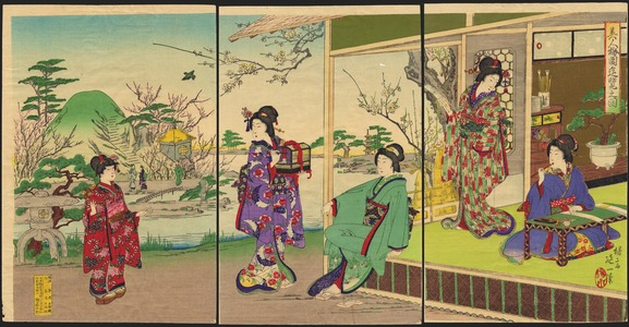 渡辺延一: View of Beauties In A Plum Garden - 美人梅園遊覧之図 - Ohmi Gallery