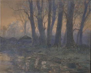 吉田博: Farmlet at Dawn (1) - Ohmi Gallery
