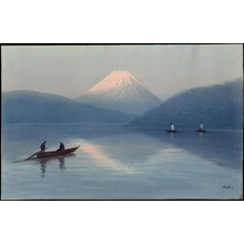 Aoki R: Boats On Lake Near Fuji (1) - Ohmi Gallery