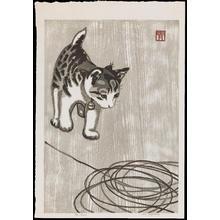 Aoyama, Masaharu: Kitten and Knitting Wool - 毛糸猫(タテ) - Ohmi Gallery