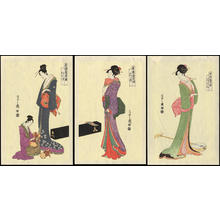 細田栄之: Three Courtesans Playing Music (1) - Ohmi Gallery