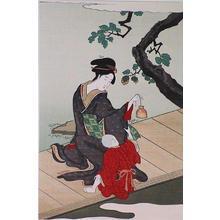 Eiri Hosado: Woman Holding a Goldfish Bottle - Ohmi Gallery