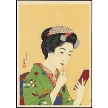 Hashiguchi Goyo: Girl with Lipstick - 紅筆を持てる女 - Ohmi Gallery