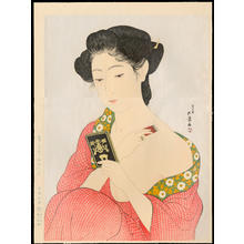橋口五葉: Woman Applying Make-up (Hand Mirror) - 化粧の女 (手かがみ) - Ohmi Gallery