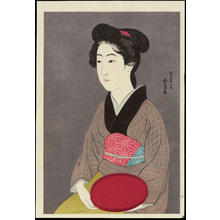 Hashiguchi Goyo: Waitress with a Tray - 紅ふで - Ohmi Gallery
