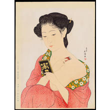 Hashiguchi Goyo: Woman Applying Make-up (Hand Mirror) - 化粧の女 (手かがみ) - Ohmi Gallery