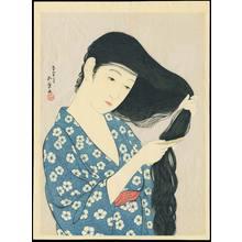 橋口五葉: Woman Combing Her Hair - 髪梳ける女 - Ohmi Gallery
