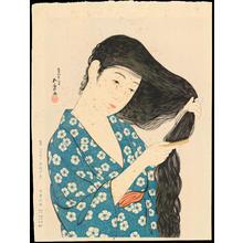 橋口五葉: Woman Combing Her Hair - 髪梳ける女(髪すき) - Ohmi Gallery