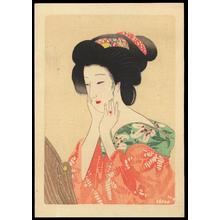 Hirezaki, Eiho: Bijin by Mirror (1) - Ohmi Gallery