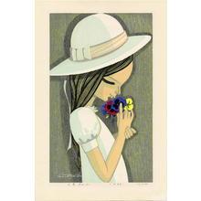 Ikeda Shuzo: Three Coloured Pansies - 三色すみれ - Ohmi Gallery