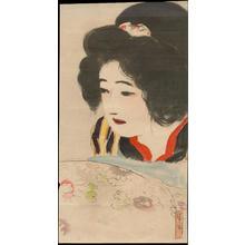 Kaburagi Kiyokata: Bijin and Flowers (1) - Ohmi Gallery