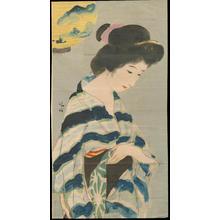 Kaburagi Kiyokata: Bijin and Lantern (1) - Ohmi Gallery