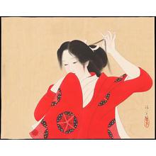 鏑木清方: Bijin in Red Kimono (1) - Ohmi Gallery