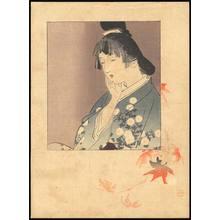 梶田半古: Bijin and Maple Leaves (1) - Ohmi Gallery