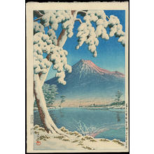川瀬巴水: Clearing After a Snowfall on Mt Fuji (Tagonoura Beach) - Ohmi Gallery