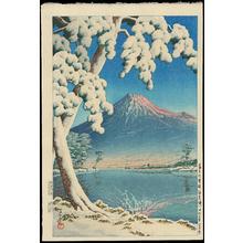 Kawase Hasui: Clearing After a Snowfall on Mt Fuji (Tagonoura Beach) - Ohmi Gallery