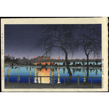 Kawase Hasui: Night at the Pond Edge- Shinobazu Pond - 夜の池畔(不忍池) - Ohmi Gallery