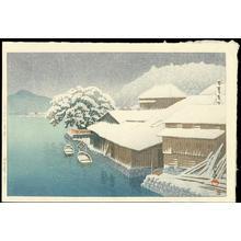 Kawase Hasui: Snow Falling at Ishinomaki - 石巻の?雪 - Ohmi Gallery