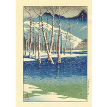 川瀬巴水: Taisho Pond, Kamikochi Tableland - 上高地渓谷 - Ohmi Gallery