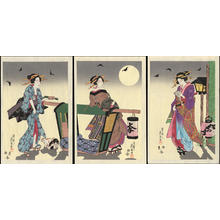 渓斉英泉: Three Courtesans on a Summer Night (1) - Ohmi Gallery