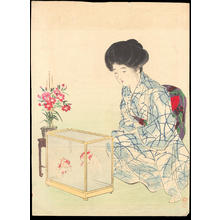 Takeuchi Keishu: Bijin with Goldfish (1) - Ohmi Gallery